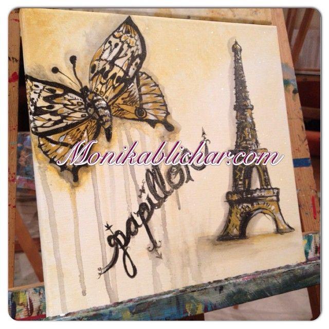#40paintingchallenge Papillon a La Tour Eiffel Original SOLD Print: $30