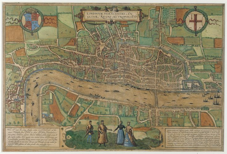"Map of Tudor London dating to 1574 Famine and plague had kept the overall population of England and Wales static, but during Tudor times it doubled to four million. The caption in this 1572 map reads ""London, the very fertile capital of the kingdom of England"". London may look like a rural town by contemporary standards, but a steady influx of people made its population grow four-fold. As a result, overcrowding and crime began to increase"