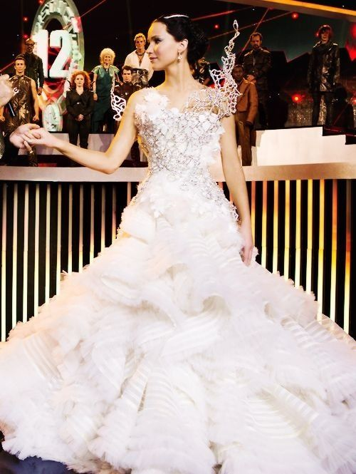 katniss and her wedding dress jennifer lawrence pinterest