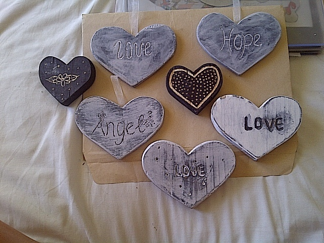 Solid wooden hearts