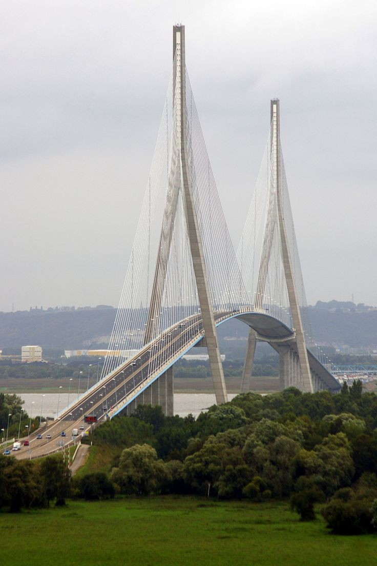 Pont de Normandie between Honfleur and Le Havre, France. I think it's the most beautiful bridge in the world. Driving across was like entering a cathedral.