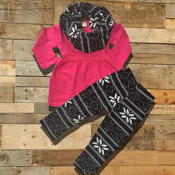 Hot Pink & Black Snowflake Outfit