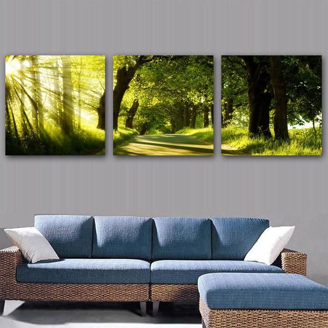 3 Pcs Set Landscape Canvas Prints Wall Pictures Triptych Modular Painting For Living Room Decorations Living Room Paint Picture Wall Living Room Decor