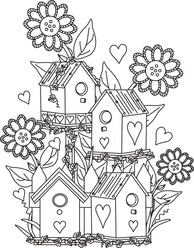 Four Birdhouses With Flowers Coloring Page