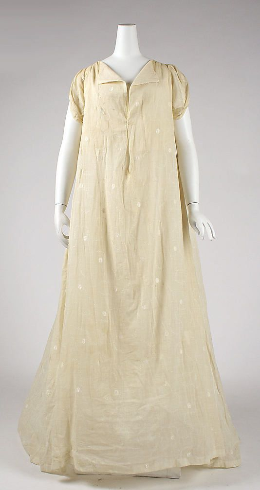 Unusual style of 1804–15 cotton dress. American or European. - in the Metropolitan Museum of Art costume collections.