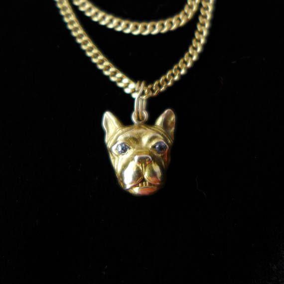 Antique Victorian 14K Bulldog with Diamond Eyes Charm