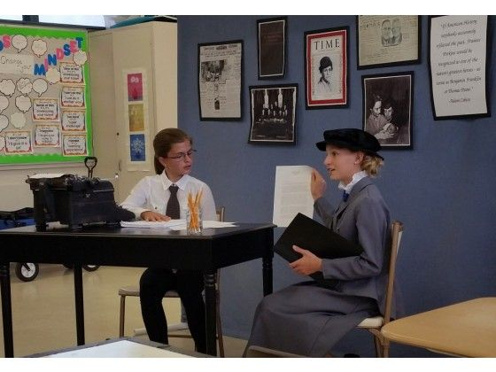 Audrey Brunken, left, plays a reporter interviewing Ashlyn Danielson, who is portraying Frances Perkins, the former Secretary of Labor under Franklin Delano Roosevelt. The two students from Amelia Earhart Middle School in Riverside did their junior group performance about the first female appointed to the U.S. Cabinet. It won second place and qualified them to participate at the National History Day-California competition in Rocklin in May.