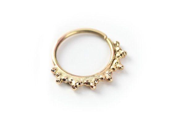 NOSE RING  Primitive Gold nose ring 14 karat yellow by studiolil, $82.00