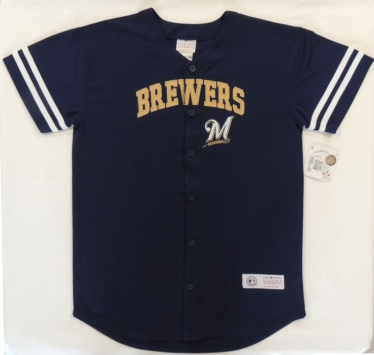 Youth Size XL 18-20 Milwaukee Brewers Button Up Short Sleeve Jersey Shirt ~Show your team spirit with this genuine MLB officially licensed Milwaukee Brewers shirt from Team Athletics.  Features a V-neck, short sleeves and Milwaukee Brewers logo.   #TeamAthletics #MilwaukeeBrewers