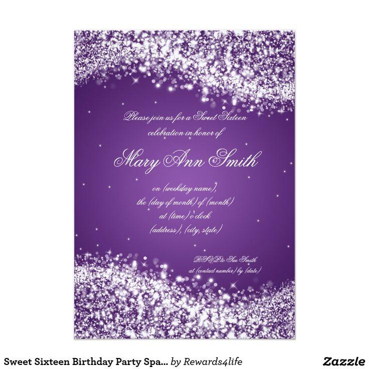 13 best PURPLE SWEET SIXTEEN Invitations images – Sweet Sixteen Invitation Cards