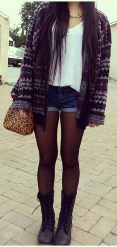 Cute tights and shorts combo :) also I love this sweater!