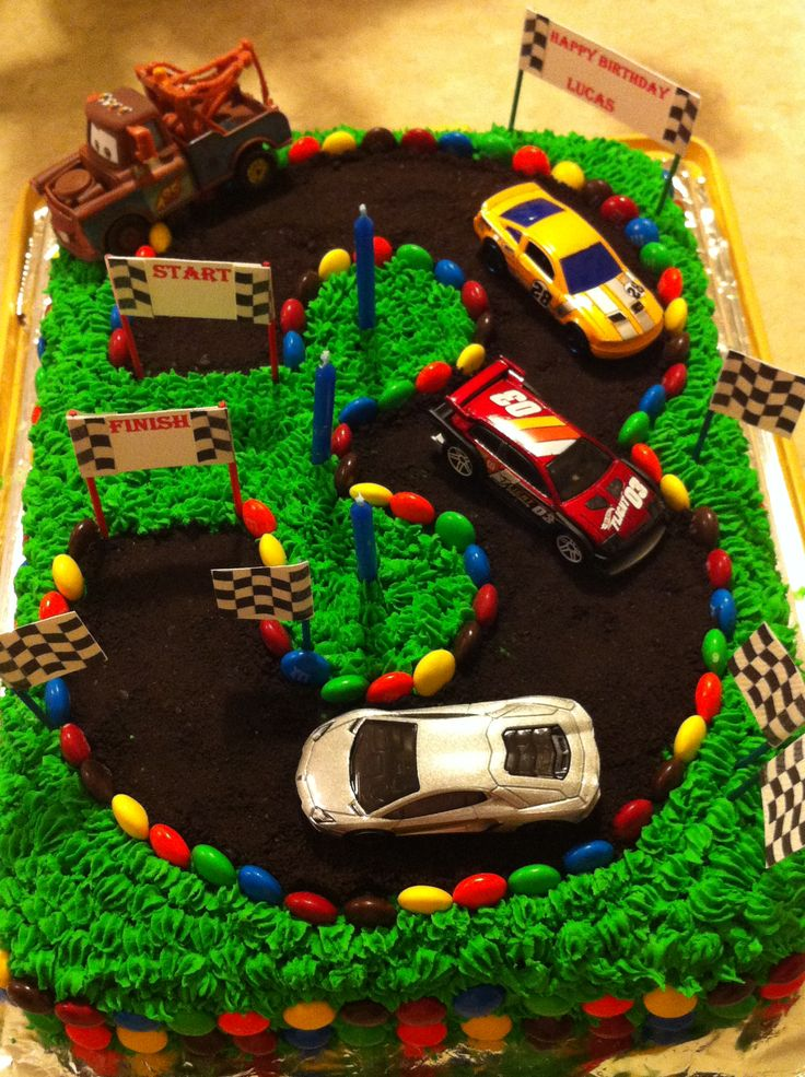 3rd Birthday cake, race car track | Race car cake ideas ...