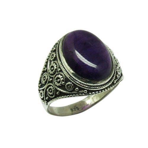 Gemstone Silver Ring Purple Color Amethyst Handmade Silver RingARCB1395-4 #Handmade