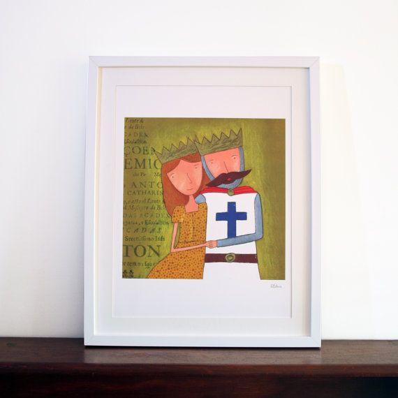 Ilustração D. Afonso Henriques e D. by carapaudecorridashop, €25.00