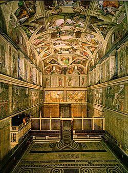 AUG. 15, 1483:  The Sistine Chapel was consecrated by Pope Sixtus IV.    image:  Sistina-interno.jpg