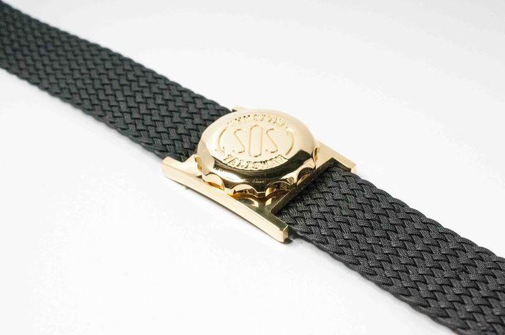 Men's gold plated SOS Talisman watchband