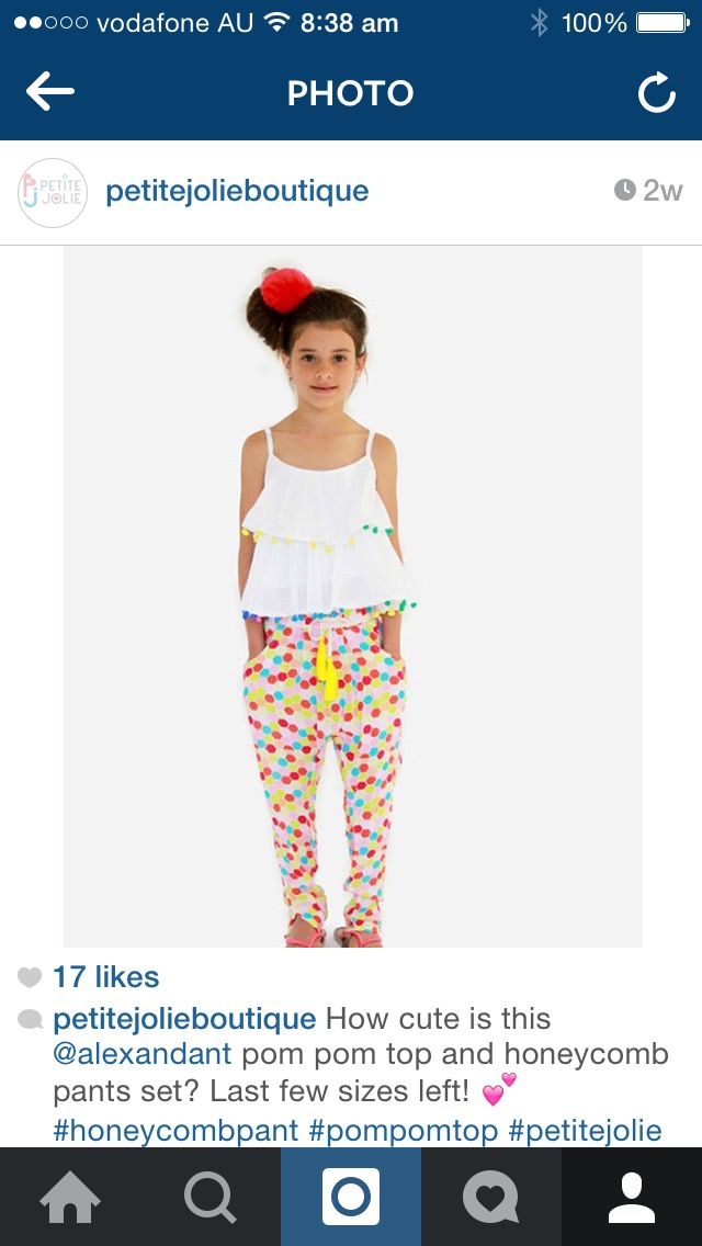 Pom Pom top and honeycomb pants set from Alex & Ant available at www.petitejolie.com.au  She won't want to wear anything else!!