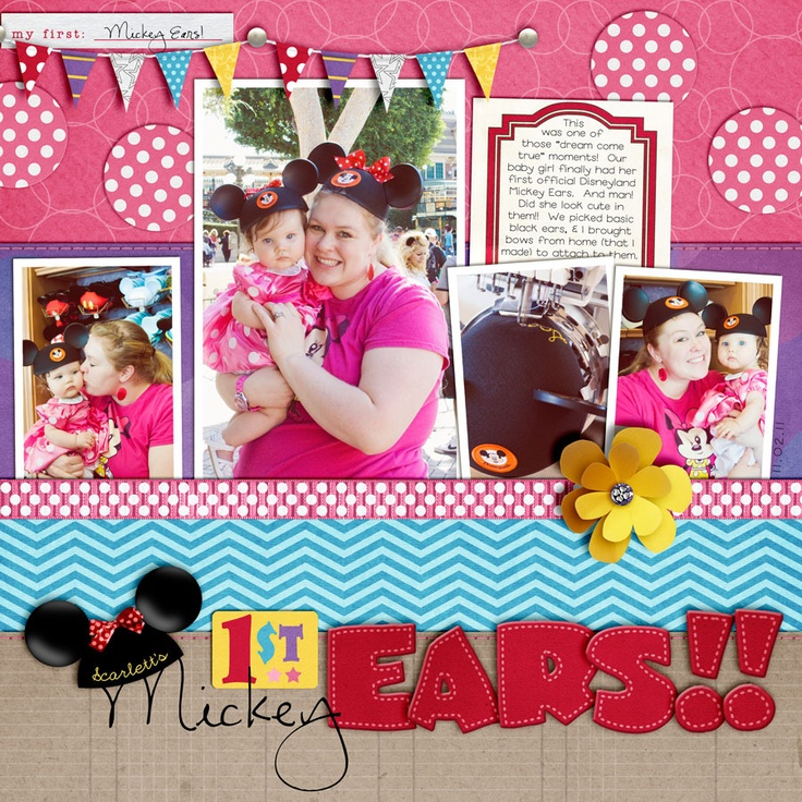 /Disney Layouts, Scrapbook Disney, Mickey Ears, 1St Mickey, Adorable Scrapbook, Disney Scrapbook, Britt Ish Design, Design Blog, 1St Ears
