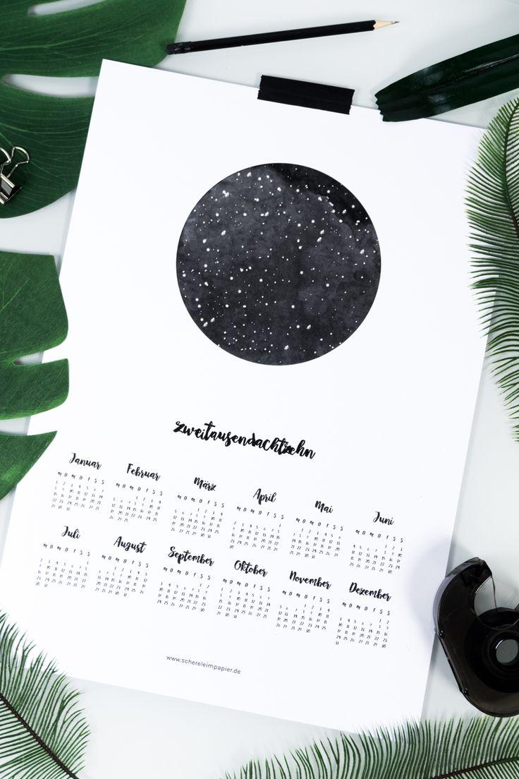 Kalender 2018 free Printable   Kalender für das ganze Jahr zum Ausdrucken   kostenloses Freebie   Mond  Nacht   Sterne   DIY Kalender   Poster   Skandinavisches Design   Living   DIY Wohnen   #kalender #printable #freebies #Kalender2018