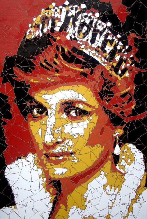 Celebrity portraits made from hundreds of tiny tile fragments - Artist Ed Chapman #Art #CelebrityArt #PrincessDiana