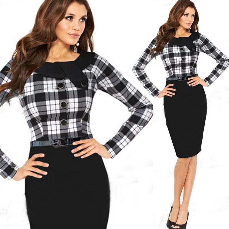 2016 New Arrivals Women Summer season Attire European Trend Fashion Plaid Lengthy Sleeve Girls Pencil Costume Girls Informal Attire