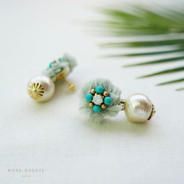 Rose Soleil Jewelry Tropical Sky Collection | ローズソレイユジュエリー ✧  コットンシルクピアス ✧ トロピカルスカイコレクション