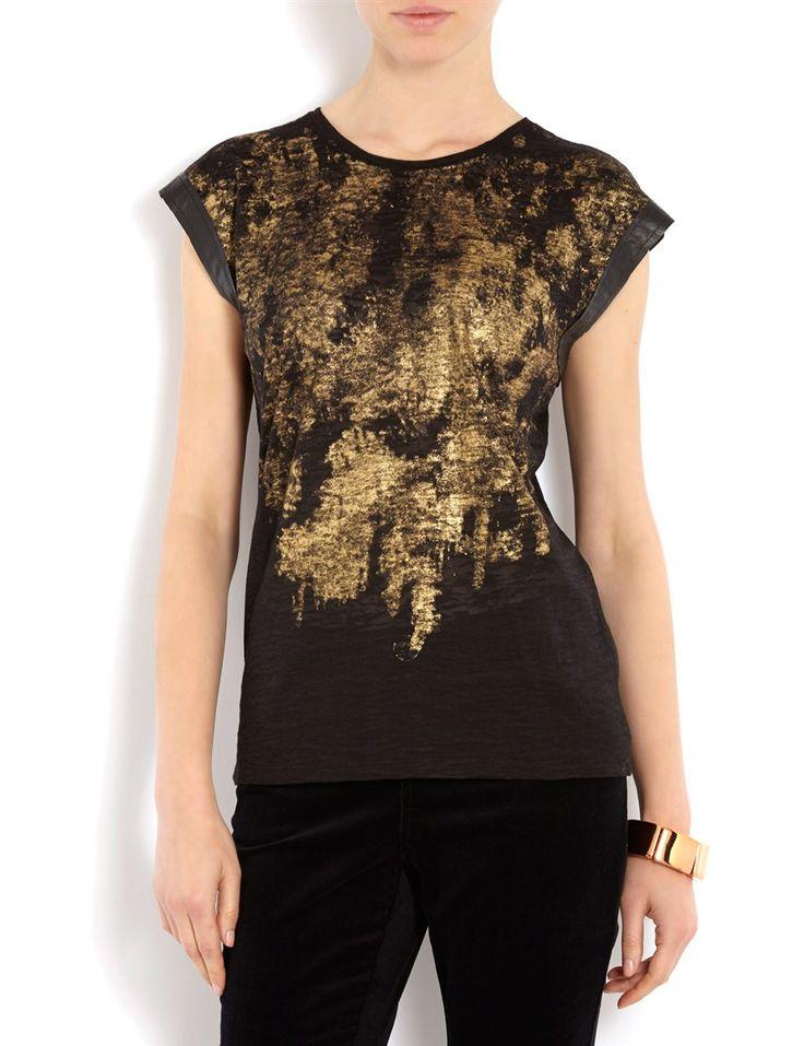 T-shirt bimatière imprimé #MORGANDETOI #GOLD