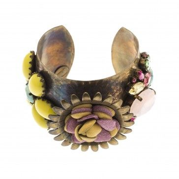 """""""Caril"""" - Handmade bronze metal plated bracelet with Swarovski crystals, strasses and leather, by Art Wear Dimitriadis"""