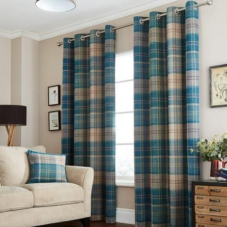 Dunelm Draughts Polyester Teal Blue and Brown Hamish Lined Eyelet Curtains (168cm x 137cm)