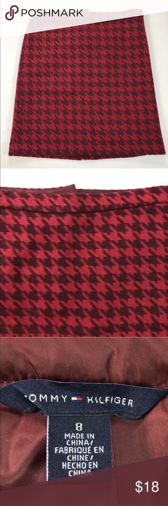 """Tommy Hilfiger Skirt Size 8 Red Houndstooth Wool Tommy Hilfiger  Womens Skirt  Size 8  Red Houndstooth  Lined  Wool Blend  Career 19"""" length 16.5"""" across waist Tommy Hilfiger Skirts"""