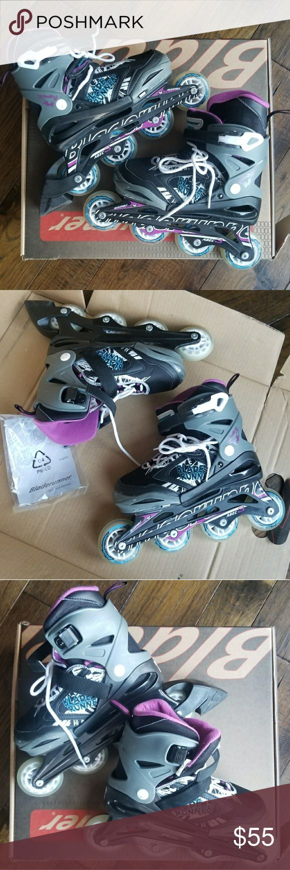 Bladerunner Rollerblades. Phoenix G. Sz. 5-8 Bladerunner Rollerblades. Phoenix G. Sz. 5-8 Excellent used condition. Great that they are as your child grows. Fits size 5 through 8. They are Black, gray, purple, White and blue. Comes with box. Originally purchased from Academy Bladerunner Shoes