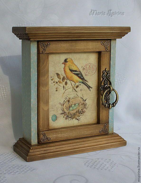 Купить Ключница Жёлтая птичка - ключница, винтаж, ретро, птичка, подарок на 8 марта, дерево
