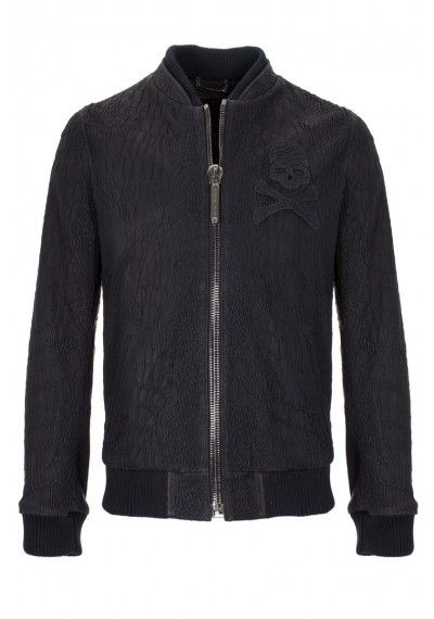 Philipp Plein | 'Be Cool' Leather Jacket Black | Leather jacket with an embroidered skull on the front.
