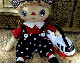 Primitivo trapo Raggedy Andy, el niño de la muñeca, muñeca, Home Decor regalos, decoración primitiva del país, muñeca de 9 pulgadas