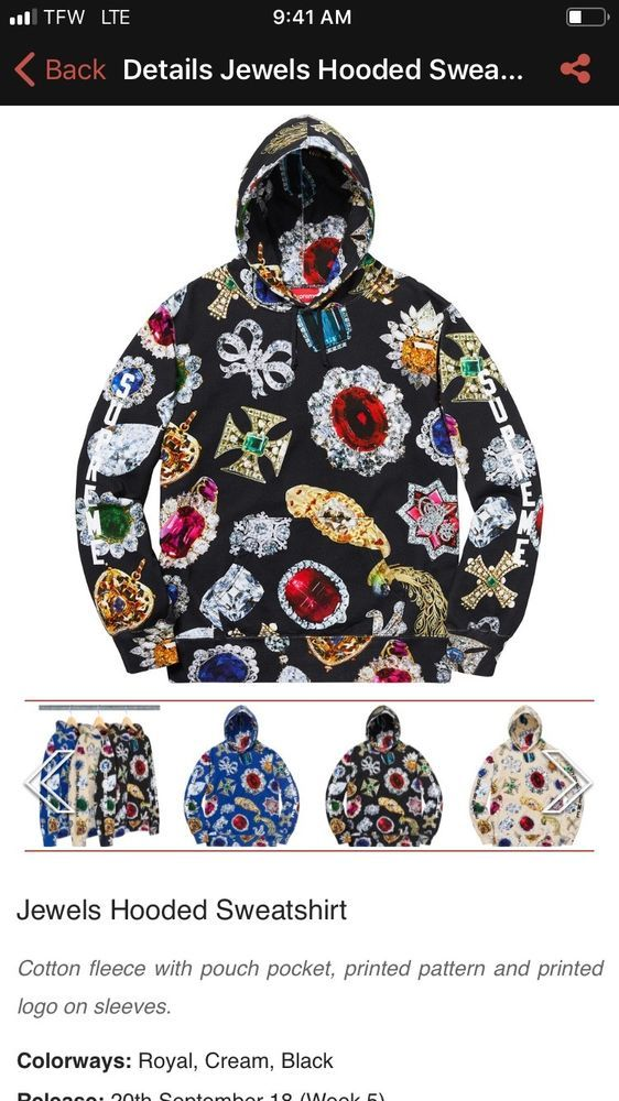 d77008706bc3f3 Supreme Jewels Hooded Sweatshirt (Black) Size XL FW18 Hoodie Supreme New  York  fashion  clothing  shoes  accessories  mensclothing  activewear (ebay  link)