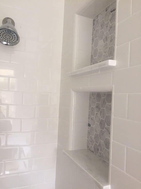 Bathroom Niche With Stone Shelf Overhang Small Master Bathroom