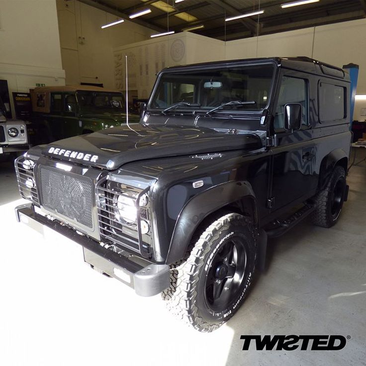 "Polished and ready to leave the showroom! BF Goodrich All Terrain tyres on 18"" Twisted black sport alloy wheels, the Twisted steering guard and front & rear light guards mean this Defender is prepared for anything.  #Defender #LandRover #LandRoverDefender #Style #Lifestyle #Handmade #Handcrafted #Details #Yorkshire #AntiOrdinary #DefenderRedefined #Redefined #4x4 #Automotive"