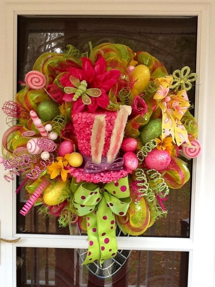 Easter Hat Deco mesh Wreath. $178.00, via Etsy.