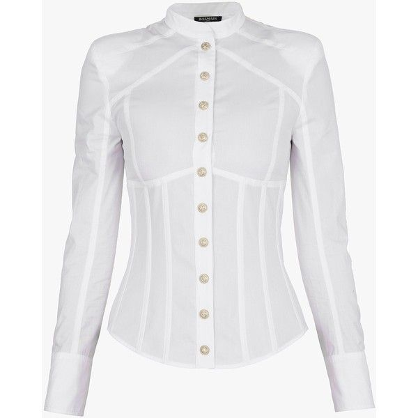 Underwired cotton-poplin shirt | Women's shirts | Balmain ($820) ❤ liked on Polyvore featuring tops, cotton poplin shirt, shirt tops, white top, balmain shirt and white shirt