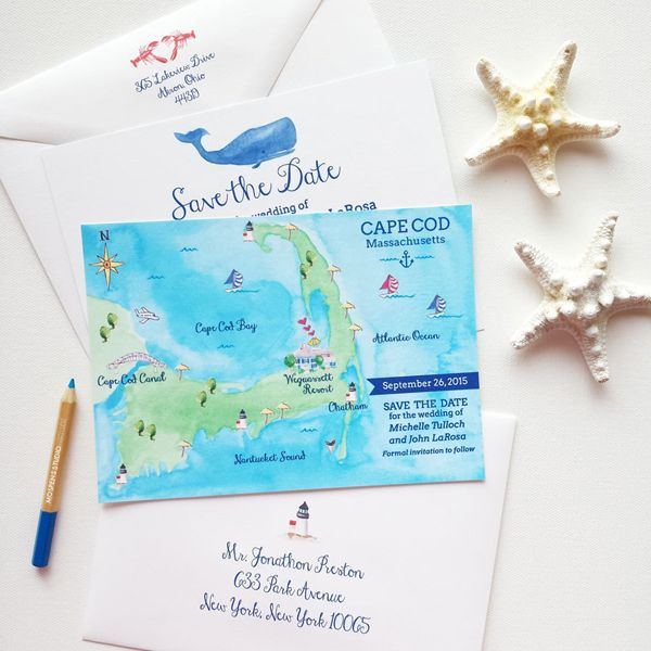 Custom watercolor Cape Cod Massachusetts Map save the date cards. Perfect for your destination wedding in Cape Cod. - www.mospensstudio.com