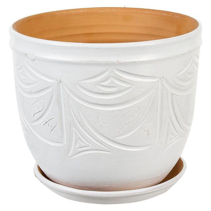 Горшок керамический с поддоном Узоры, диаметр 24,5 см, 7,9 л, цвет белый