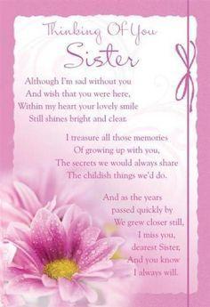 Missing My Sister in Heaven Poems