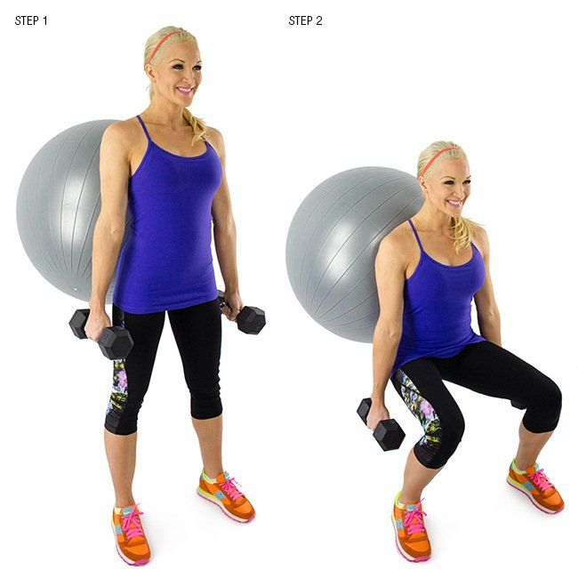 weighted wall squat with stability ball