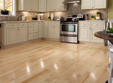 "Hardwood Floor and Cabinet Color    BELLAWOOD Natural 3/8""x3"" Hard Maple (sugar) Acer Saccharum 1450 Clear Finish Solid"