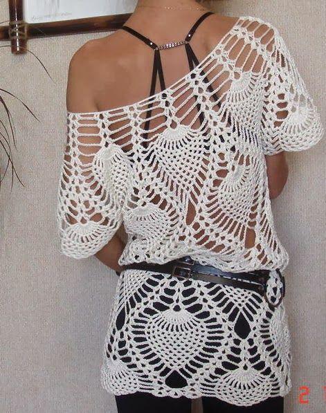 Bom dia pessoal, eu adoro branco no crochet, fica sempre muito bonito, destaca os pontos o desenho, fica a inspiração desta linda blusa pon...