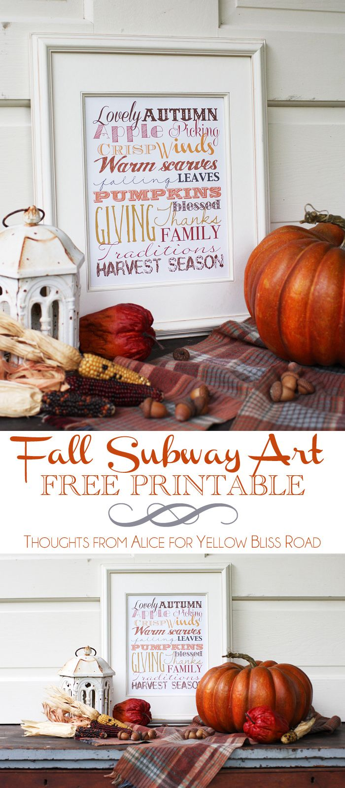 Fall Subway Art Free Printable- pop in a simple frame for easy fall decor.