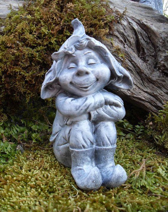 Woodland Pixie Boy Statue, Pixie Boy, Pixie Fairie Statue, Fairytale Garden Gnome Statue,Woodsprite Garden Statue - Hand Cast Stone