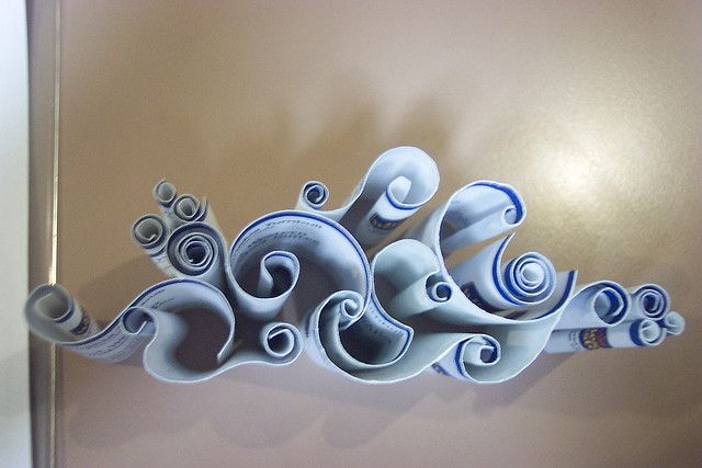 """*IS IT QUILLING?? ~ Quoted from who ever made this:  """"I got bored at work so I folded a bunch of my manager's business cars to make this design that is suposed to resemble a cloud. ~ Absolutely Awesome!!"""