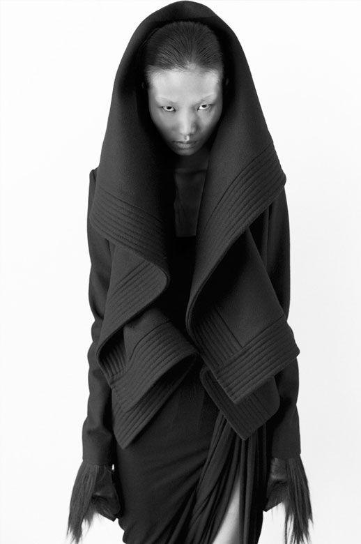 Sculptural Fashion - black hooded jacket with cascading 3D folds; dark fashion // Qiu Hao