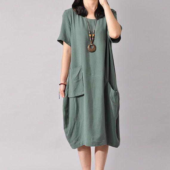 Women Cotton Linen Dress Loose Dress Summer Dress Short Sleeve Dress Large Size Dress